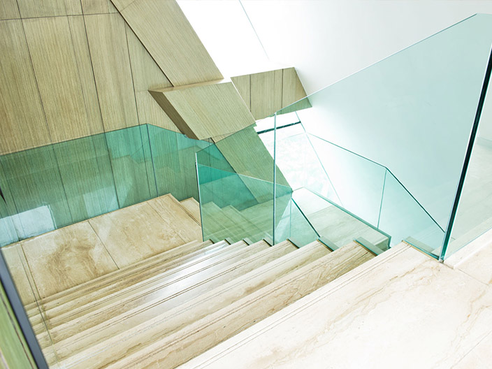 office building steps glass renovation