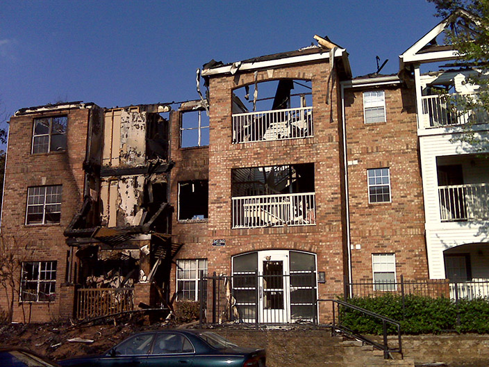 apartment building fire damage